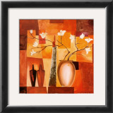 Orange Geometric Floral II Art by Alfred Gockel