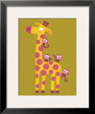 The Giraffe and the Monkeys Prints by Nathalie Choux