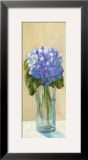 Purple Flowers in Blue Vase Poster by David Col