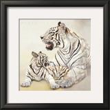 Tigres Blancs, Mere et Fille Art by Danielle Beck