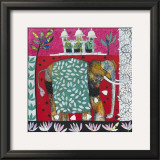 Pink Elephant with Lilies II Prints by Relton &amp; Marine 