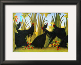 Hens with Strawberries Print by Genevi&#232;ve Jost