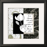 Embossed White Tulips I Print by Anne Courtland