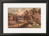 American Homestead Spring Print by Currier &amp; Ives 