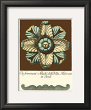Aqua and Brown Rosette III Prints