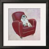 Bulldog on Red Poster by Carol Dillon