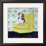 Beagle on Yellow Art by Carol Dillon
