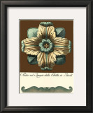 Aqua and Brown Rosette I Poster
