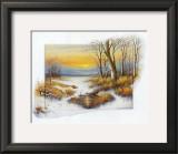 Winter at the Brook Print by Johan De Jong