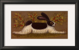 Green Folk Bunny Prints by Lisa Hilliker