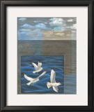 Three White Gulls I Prints by Tara Friel