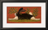 Red Folk Bunny Posters by Lisa Hilliker