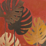 My Fashion Leaves on Red II Prints by Patricia Quintero-Pinto
