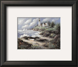 Lighthouse and Boat Print by George Bjorkland