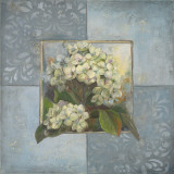 Hydrangeas on Blue II Print by Patricia Quintero-Pinto