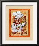 Will Work for Wine Print by Jerianne Van Dijk