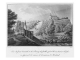 View of the Cacault Bridge and the Village of Pallet, Near Clisson, Ruins of the House of Abelard Giclee Print by Claude Thienon