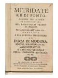 Frontispiece from an Early Copy of &#39;Mitridate, Re Di Ponte&#39;, an Opera by Wolfgang Amadeus Mozart Giclee Print by Italian School 