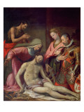 The Deposition of Christ with St. John the Baptist, St. Catherine of Alexandria and a Donor Giclee Print by Santi Di Tito