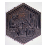 Grammar, Hexagonal Decorative Tile from a Series Depicting the Seven Liberal Arts Giclee Print by Andrea Pisano