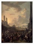 Capriccio View of Rome with a Market by Bernini's Four Rivers Fountain, Santa Trinita Dei Monti Premium Giclee Print by Johannes Lingelbach