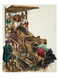 A Tallyman Notches Up How Many Loads of Coal Leave the Mine as a Miner Fills a Cart Giclee Print by Peter Jackson