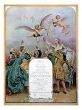 Ritz Restaurant Menu, Depicting a Group of Elegant 18th Century Men and Women Drinking Champagne Giclee Print by Maurice Leloir