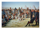 Chief Poundmaker Surrenders to General Middleton During the North-West Rebellion of 1885 Giclee Print by  English School