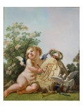 Cupid Commemorating a Marriage by Incising on a A Tablet the Interlaced Initials Ft and Rc, 1797 Giclee Print by Jean-Baptiste Huet