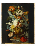 Tulips, Roses, Hyacinth, Auricula and Flowers in a Sculpted Urn on a Stone Pedestal in a Niche Giclee Print by Jan van Huysum