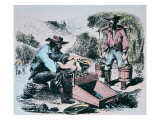 Prospectors Using a 'Rocker' or 'Cradle' to Wash Gold Dirt During the California Gold Rush of 1849 Giclee Print by  American School