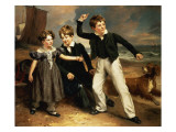 A Group Portrait of Robert, James and Mary Sarah, the Three Children of James Greenhalgh, 1830 Giclee Print by Ramsay Richard Reinagle