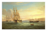 Ship from a British Squadron and Other Craft Underway in the Western Reaches of the Bay of Naples Premium Giclee Print by  Tommaso de Simone