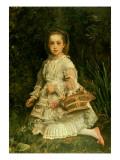 Portrait of Gracia, Full Length, Wearing a White Dress, Picking Wild Flowers Giclee Print by John Everett Millais