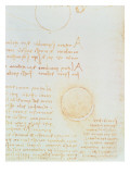 Detail of Fol. 2R, from the Codex Leicester, Showing the Outer Luminosity of the Moon Giclee Print by Leonardo da Vinci