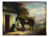 Mr. Stuart's Favourite Hunter, Vagabond' and His Flatcoated Retriever, Nell, by a Cottage Door Premium Giclee Print by John E. Ferneley