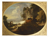 A River Landscape with Rustic Lovers, a Mounted Herdsman Driving Cattle and Sheep over a Bridge Giclee-trykk av Gainsborough, Thomas