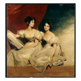 A Double Portrait of the Fullerton Sisters, Seated Full Length, in White Dresses, C.1825 Giclée-tryk af Thomas Lawrence