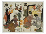 Two Scenes from the Series 'Loyal League' Depicting Everyday Life of an Edo Period Household Giclee Print by Kitagawa Utamaro