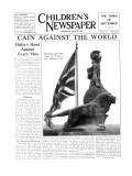 Britannia Looks Out Upon the World as the Shadows Fall, Front Page of 'The Children's Newspaper' Giclee Print by English School