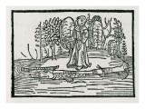 St. Brendan on the Fish Island, Illustration from 'The Voyage of St. Brendan', 1499 Giclee Print by  German School