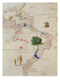 South America, from an Atlas of the World in 33 Maps, Venice, 1st September 1553 Reproduction proc&#233;d&#233; gicl&#233;e par Battista Agnese