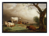Cattle in a Field, with Travellers in a Wagon on a Track Beyond and a Church Tower in the Distance Giclee Print by Potter 