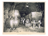 Pouring the Wine into the Barrels, from 'Le France Vinicole', Pub. by Moet and Chandon, Epernay Premium Giclee Print by E.M. Choque