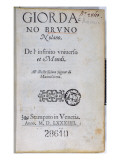 Res 28610 Title Page of 'De L'Infinito Universo Et Mondi' by Giordano Bruno, Published in London Giclee Print by English School