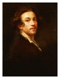 Self-Portrait, Half Length, Looking over His Shoulder, in a Brown Coat and White Shirt, C.1750-52 Giclee Print by Joshua Reynolds