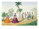 Filipinos Playing Football, from 'The Flebus Album of Views in and around Manila', C.1845 Giclee Print by Jose Honorato Lozano