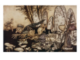A Band of Workmen, Who Were Sawing Down a Toadstool, Rushed Away, Leaving their Tools Behind Them Giclee Print by Arthur Rackham