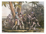 The Arrival of Christopher Columbus in the New World and His Meeting with the Indigenous Peoples Giclee Print by D.k. Bonatti