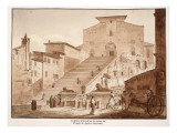 The Church of Santa Maria in Aracoeli on the Ruins of the Capitoline Temple of Jupiter, 1833 Giclee Print by Agostino Tofanelli